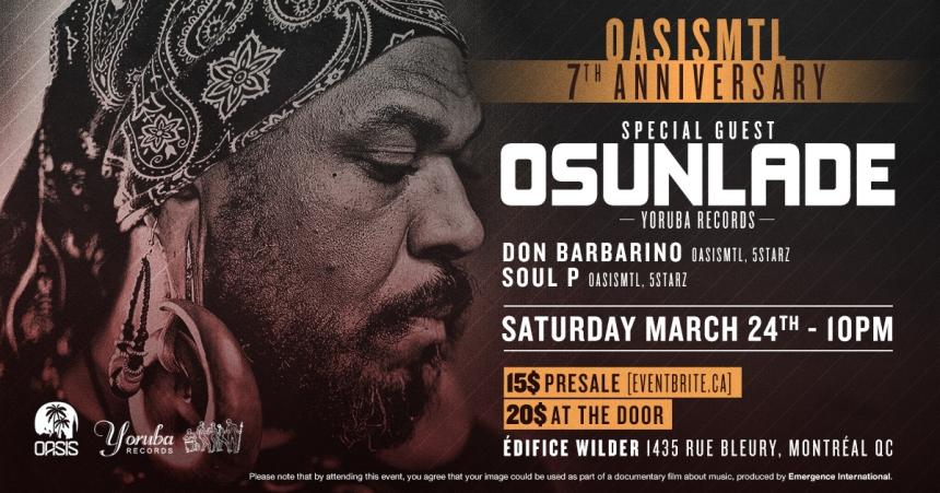 Oasis Mtl 7th Anniversary Osunlade Don Barbarino Soul P